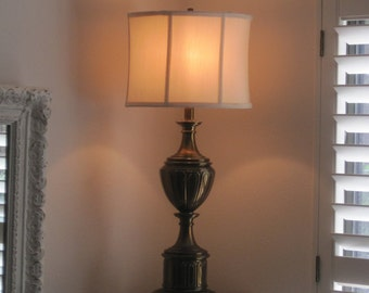 Vintage Urn Large Table Lamp - Rustic Tarnished -  Solid Brass Shabby Chic Stiffel Trophy Lamp