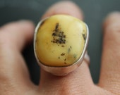 Authentic Natural Butterscotch Amber and Sterling Ring -Vintage Ring Natural Baltic Amber- Natural-