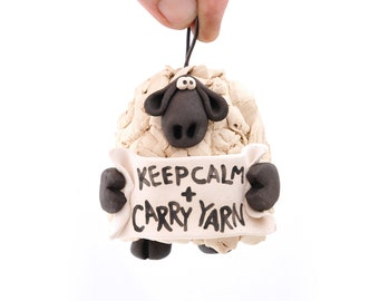 Keep Calm and Carry Yarn Sheep Ornament Bell for your home or knitting friend
