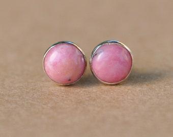 Rhodonite Earrings handmade with Sterling Silver Earring Studs, 6mm pink Gemstones, silver jewelry, birthday, gifts, presents