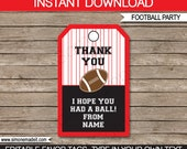 Football Favor Tags or Thank You Tags in Red & Black - Printable Template - INSTANT DOWNLOAD with EDITABLE text - you personalize at home
