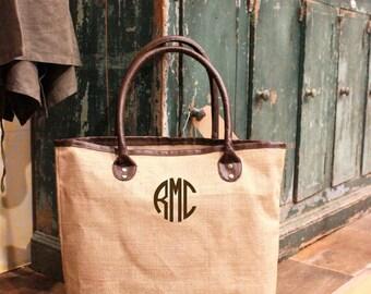 Leather Bag,Custom Bag, Burlap Tote Bag,Custom Bag, Womens Accessory, Personalized Purse, Gift For Her,Beach Bag, Large Carryall Bag,