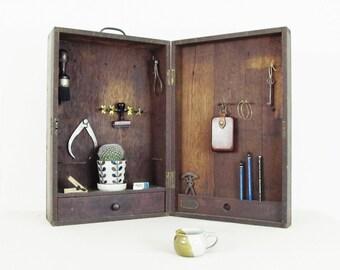vintage industrial wood tool box, wooden tool box, desk organizer, retail display, HARDWARE TOOLS and SUPPLIES, wood storage box, circa 1940