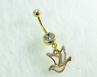 Belly Ring,  Gold Dove With Rhinestones,   Your Choice of Single or Double Gem Womens Gift  Handmade