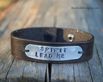 Custom Hand Stamped Leather Cuff Personalized Boho