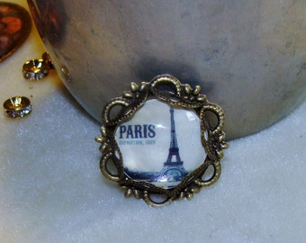 Paris Eiffel Tower art print image bead charm cabochon diy jewelry making Pamelia Designs