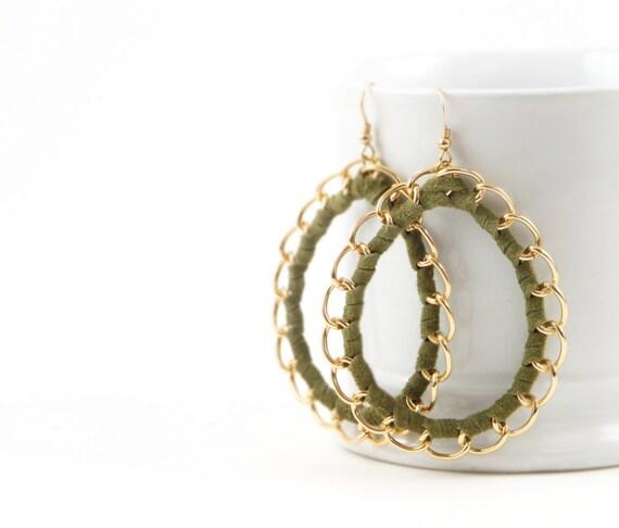 Custom Order for Paula - Brown Suede Hoop Earrings-in Silver