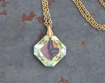 Iridescent Crystal Necklace - Elegant Diamond Shaped Pendant on Golden Chain