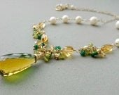 Bi-colour Quartz Necklace - Green and Gold Necklace