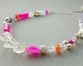 Crystal Quartz Skull Necklace - Sterling Silver, Hot Pink Chalcedony, Swarovski Crystal and Carnelian Multigem Necklace