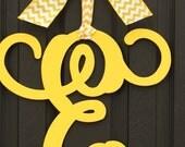 Door Monogram Wreath - Door Wreath - Initial Monogram - Metal Monogram - Choose letter and bow color