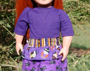 18 Inch Doll Clothes - Layered Skirt w/matching tights & coordinating Purple T-Shirt
