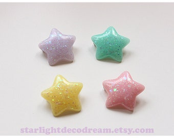 CHOOSE ONE Chubby Glitter Star Pin for Fairy Kei or Kawaii Cute Fashion