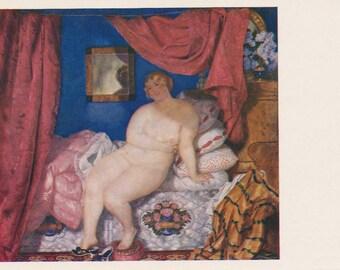 """B. Kustodiev """"Belle"""" Print, Postcard -- 1969"""