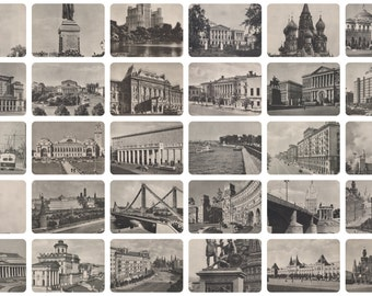 Moscow (Welcome to 1955). Complete Set of 12 Vintage Postcards in original cover -- 1955