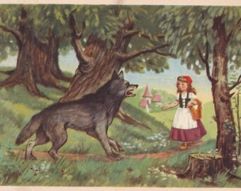 """Postcard Illustration by T. Sazonova for Charles Perrault's Tale """"Little Red Riding Hood"""" -- 1956"""