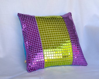 Sequin Pillow Cover - Green and Purple