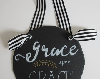 Grace upon Grace Wall Art Word Art Wall Decor - Black, White and Gold - Slate with Striped Ribbon