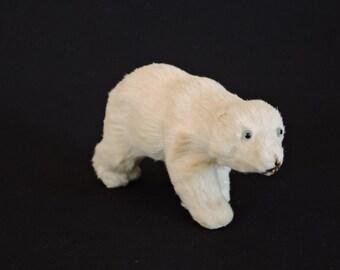 Vintage 1950s German Genuine Fur Polar Bear Toy - Natural Fur White Polar Bear w/ Glass Eyes