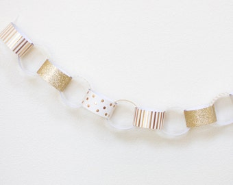 Gold Glitter + Foil Paper Chain Garland Kit - 30 Strips