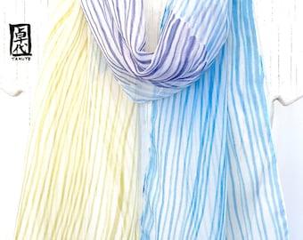 Silk Scarf Hanpainted, Blue and Olive Green Stripes Scarf, Blue Zen Rain Scarf, Silk Chiffon Scarf, Silk Scarves Takuyo, 10x59 inches.