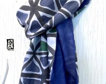 Mens Silk Scarf Handpainted, Mens Gift, Blue Silk Scarf, Gray Scarf, Reversible Silk Scarf, Blue Gray Geometric Scarf, Takuyo, 14x72 inch