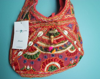 Purse Hippie Boho Summer Festival Indian cotton cloth purse Embroidered Ethnic Seashell Glorietta BLUNAUTA Classic