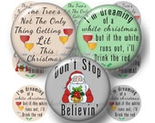 """Christmas, Digital Collage Sheets, Funny Sayings, 1.25"""", 1.5"""", 2"""", 30mm, 1 Inch, Circles, Pendants, Cabochons, Bottle Caps, Cupcake Toppers"""