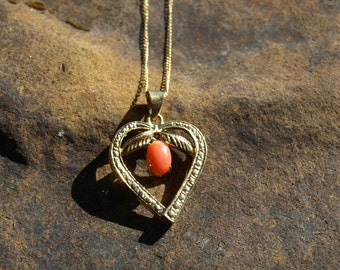 Vintage Coral Heart Necklace 12K Yellow Gold Filled
