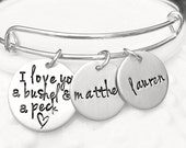 Expandable Silver I Love You A Bushel and a Peck Bracelet - Personalized Jewelry - Gift for Mom - Name Bracelet