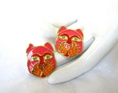 signed Edgar BEREBI Cat Earrings 1980's enamel whimsical kitty face Excellent