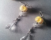 Yellow Glass Melon Bead Crystal Earrings