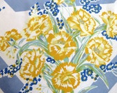 Yellow Carnations Blue Bells Floral Vintage Tablecloth Spring Summer Decor Country Cottage Vintage Table Linens Collectible