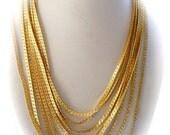 Vintage Monet Necklace Bracelet Gold Herringbone Demi - Parure 1950s