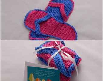 Crochet Dishcloth Gift Set – Includes Gift Card – Flip Flops - Blue and Hot Pink