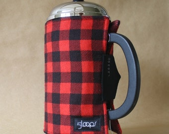 French Press Coffee Cozy Red & Black Plaid Flannel French Press Wrap in Red and Black Buffalo Plaid