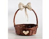 Brown Flower Girl Basket Rustic flower girl basket Wedding personalized basket Bridal basket Country flower girl basket Burlap wedding