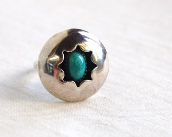 Turquoise Ring Shadow Box Size 6 .25 Vintage Sterling Silver Southwestern Jewelry