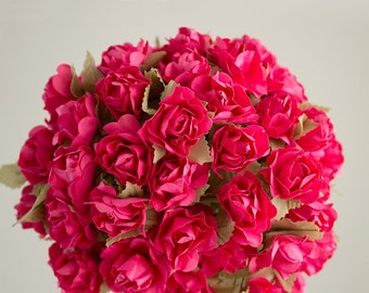 72 Roses / Hot Pink Paper Flowers Bouquets / 30 mm / Roses With Wire Stems / 72 Blossoms Total / Flower Ball / Wedding / Party Favors