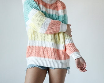 Vintage 80s Oversized Pastel Striped Sweater Slouchy Jumper Size Small - Red 7