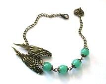 Angel wing bracelet green jade jewelry victorian steampunk bracelet antique brass bronze