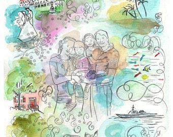 Family painting. Family Portrait. Custom family portrait. Custom portrait illustration. Watercolor portrait.