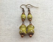 Moss green and gold paper bead earrings ~ filigree jewery ~ one of a kind paper bead jewelry