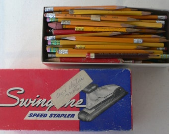 yellow pencils in Swingline Staple box,vintage, instant collection, from Diz Has Neat Stuff