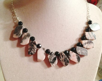 Pink and Black Necklace - Sterling Silver Jewelry - Rhodochrosite and Onyx Gemstone Jewellery - Fashion - Chain - Funky - Mod