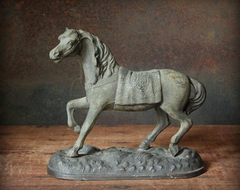 Horse figurine, metal horse statue, clock top figurine