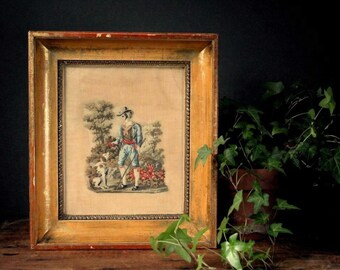 Antique framed petit point embroidery, gold frame, antique embroidery