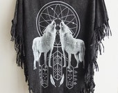 Wolf Dream Catcher stone wash hippie rock poncho tassel dress