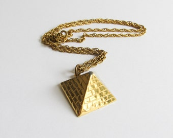Vintage Pyramid Necklace / Gold Pyramid / Egyptian Necklace / Golden