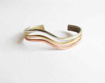 Sergio Lub Bracelet / Vintage Designer Cuff Bracelet / Multi Metal / Modernist / Simple